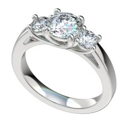 3 Stone Cathedral Trellis Engagement Ring W/0.5ct Total RB Sides