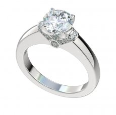 Engagement Ring With 0.15ctw Bead And Bezel Set Diamonds