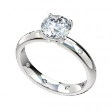 Engagement Ring With 0.16ctw Burnished Flush Set Diamonds
