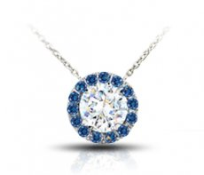 Celebration Pendant With Color Enhanced Natural Diamond Halo