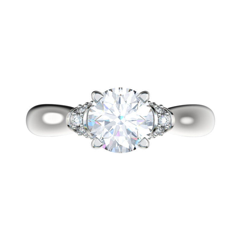 Engagement Ring With 017ctw Bead Set Diamond Shoulders CHR1034