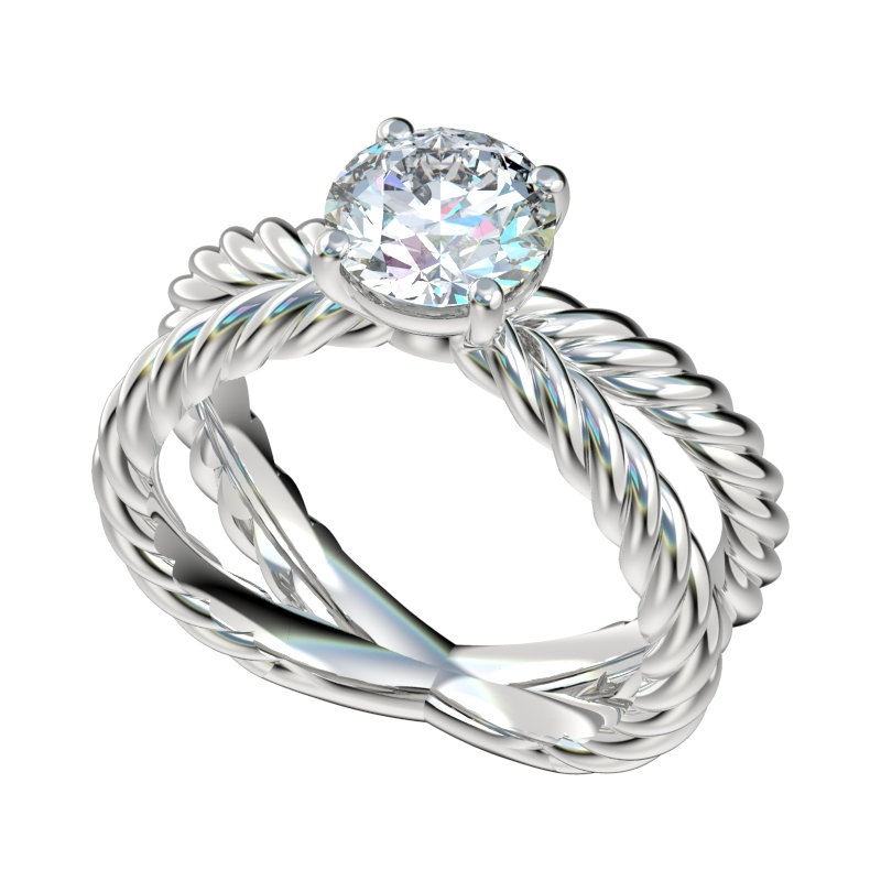 Split Shank Cable Solitaire Basket Setting Engagement Ring Chr1091 Forever In Love 895 00 Lab Created Simulated Diamonds Best Man Made Diamond Simulant Rings