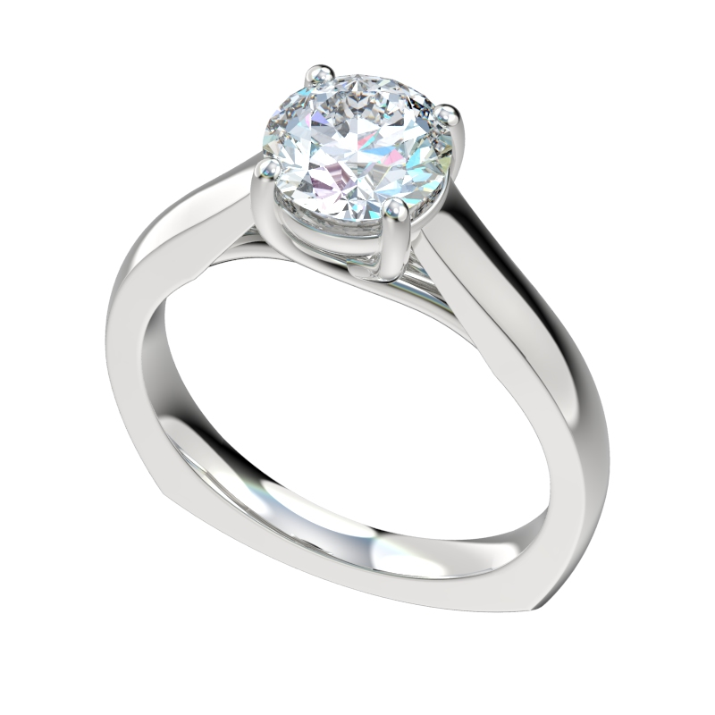 Cathedral Trellis Solitaire Euro Shank Engagement Ring