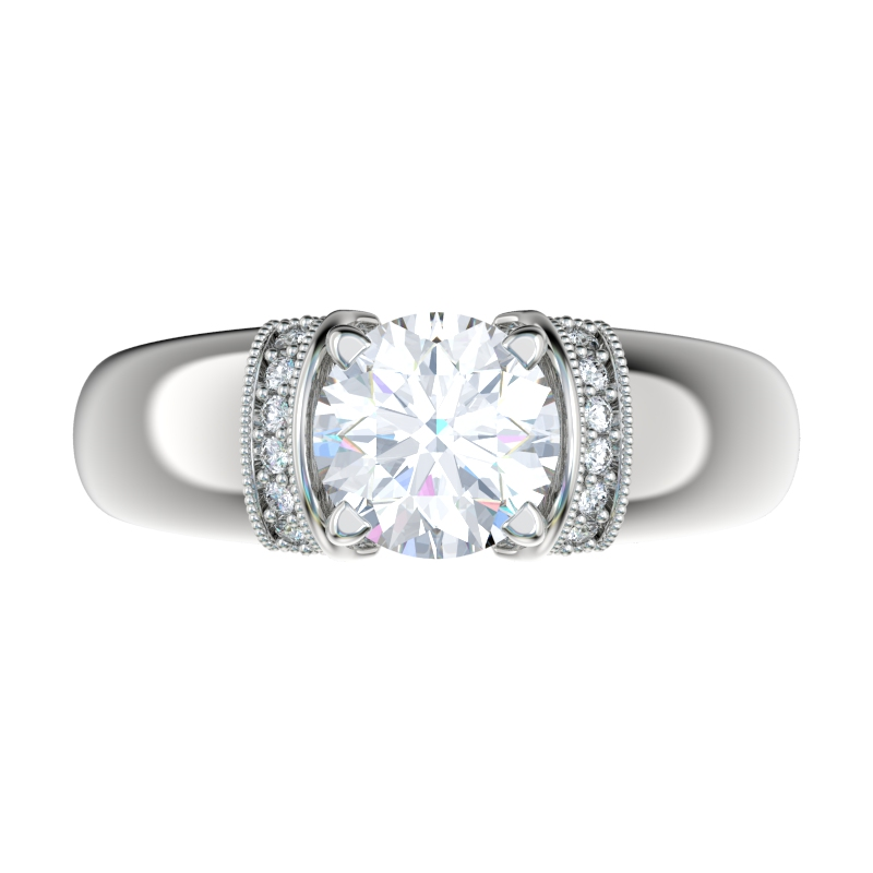wide shank engagement ring with 007ctw bead set diamonds