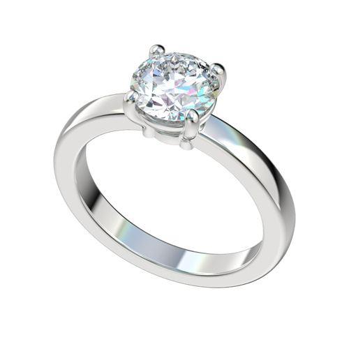Solitaire Basket Setting Flat Shank Engagement Ring Chr1044 795 00 Lab Created Simulated Diamonds Best Man Made Diamond Simulant Rings
